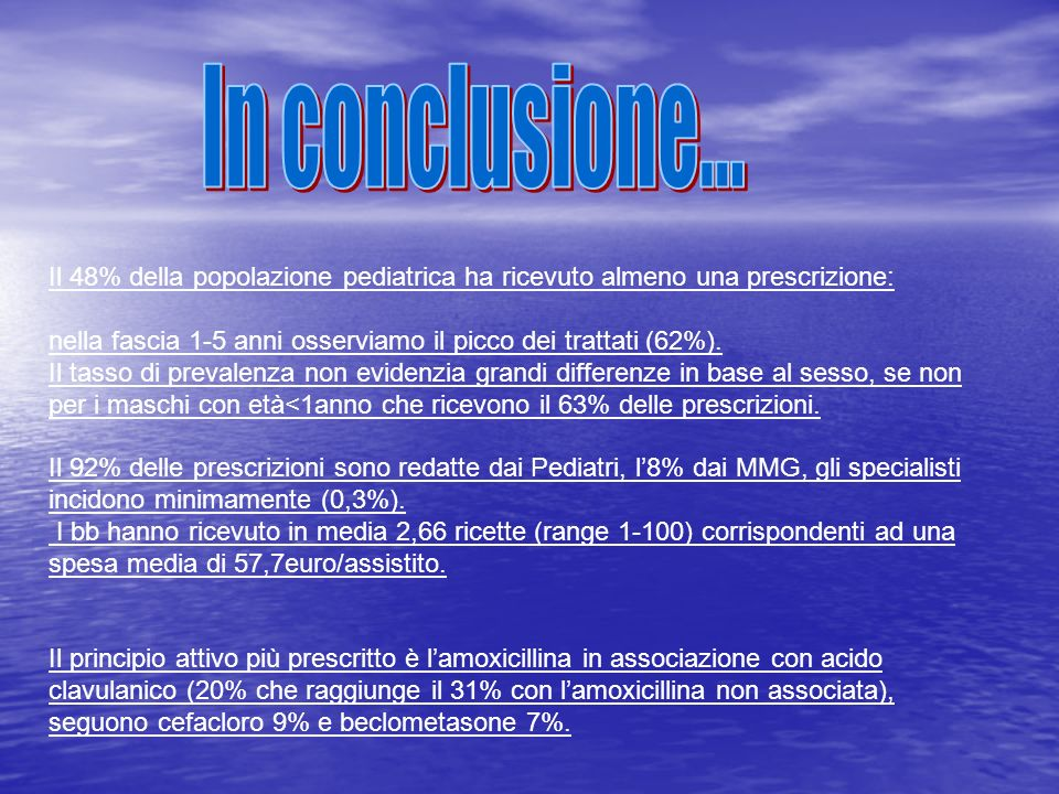 In conclusione... Il 48% della popolazione pediatrica ha ricevuto almeno una prescrizione: