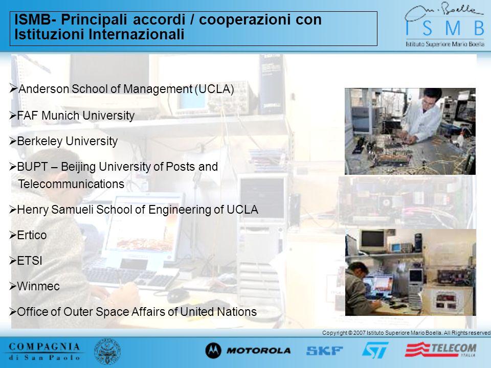 ISMB- Principali accordi / cooperazioni con Istituzioni Internazionali
