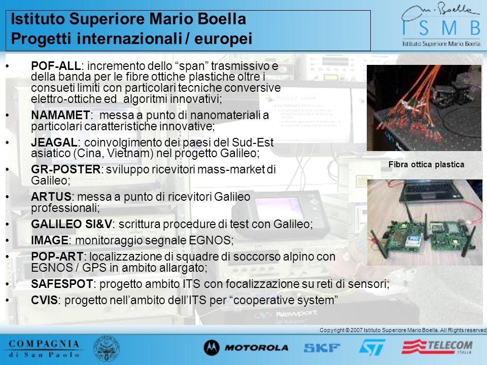 Istituto Superiore Mario Boella Progetti internazionali / europei