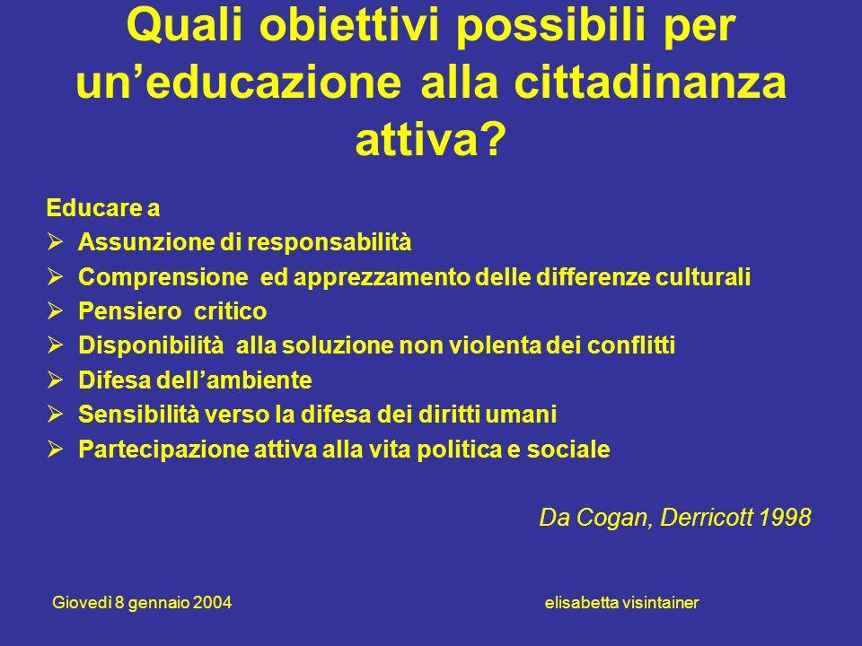 Quali obiettivi possibili per un'educazione alla cittadinanza attiva