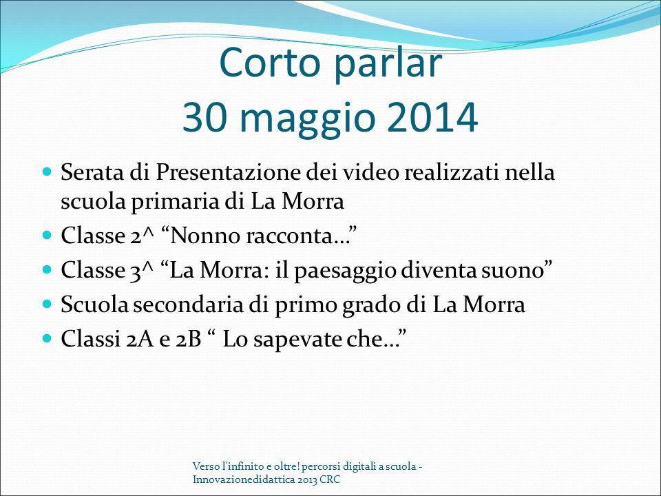 Corto parlar 30 maggio 2014 Serata di Presentazione dei video realizzati nella scuola primaria di La Morra.