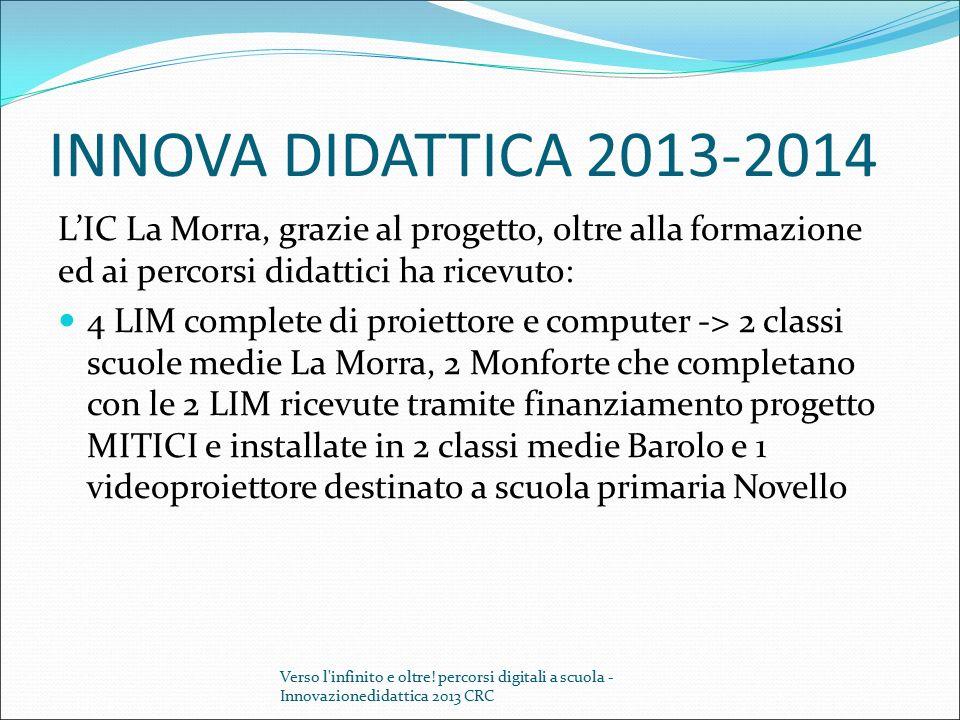 INNOVA DIDATTICA 2013-2014 L'IC La Morra, grazie al progetto, oltre alla formazione ed ai percorsi didattici ha ricevuto: