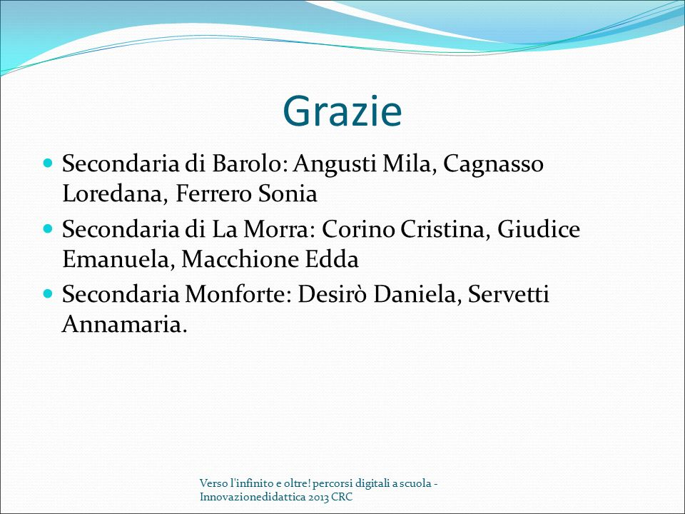 Grazie Secondaria di Barolo: Angusti Mila, Cagnasso Loredana, Ferrero Sonia.
