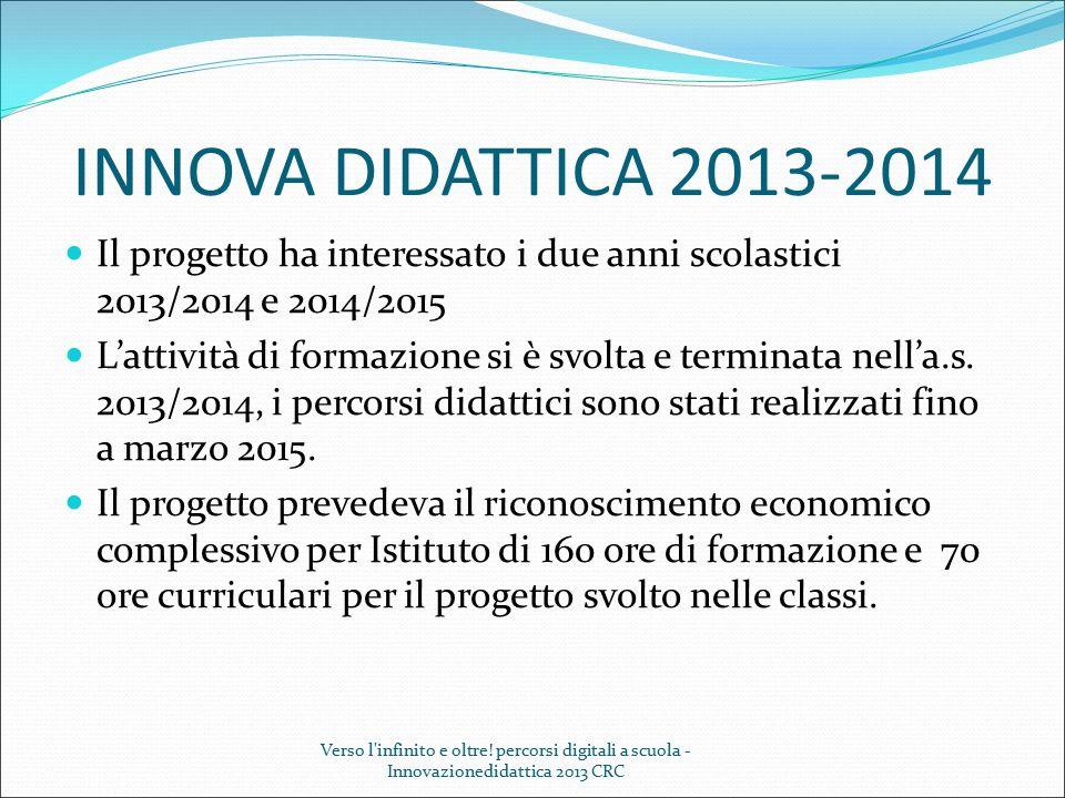 INNOVA DIDATTICA 2013-2014 Il progetto ha interessato i due anni scolastici 2013/2014 e 2014/2015.