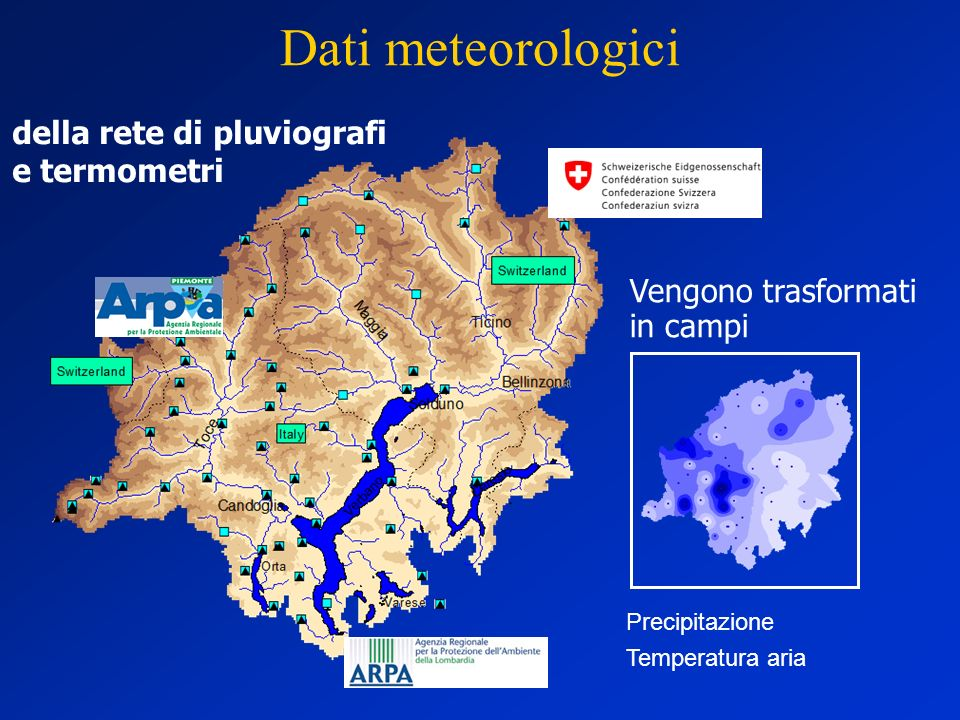 Dati meteorologici della rete di pluviografi e termometri