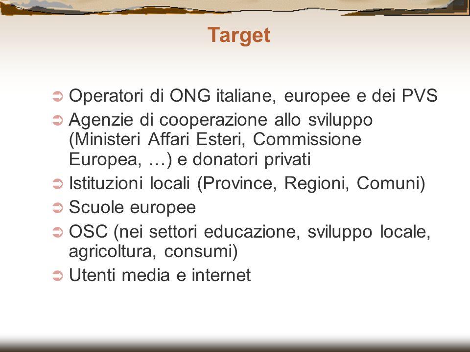 Target Operatori di ONG italiane, europee e dei PVS