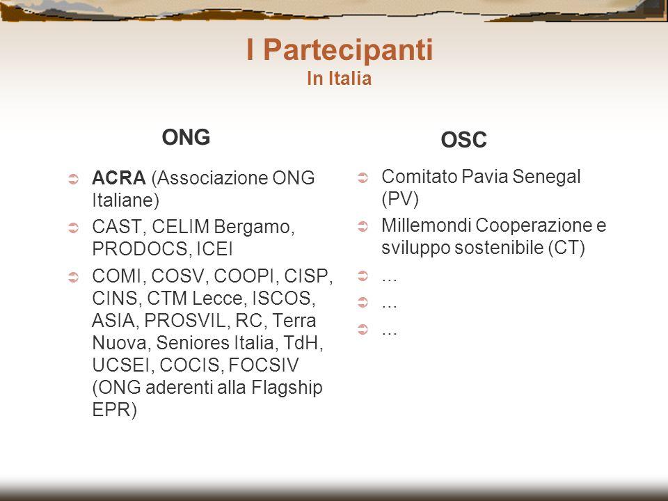I Partecipanti ONG OSC In Italia ACRA (Associazione ONG Italiane)