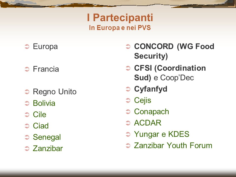 I Partecipanti Europa Francia Regno Unito Bolivia Cile Ciad Senegal