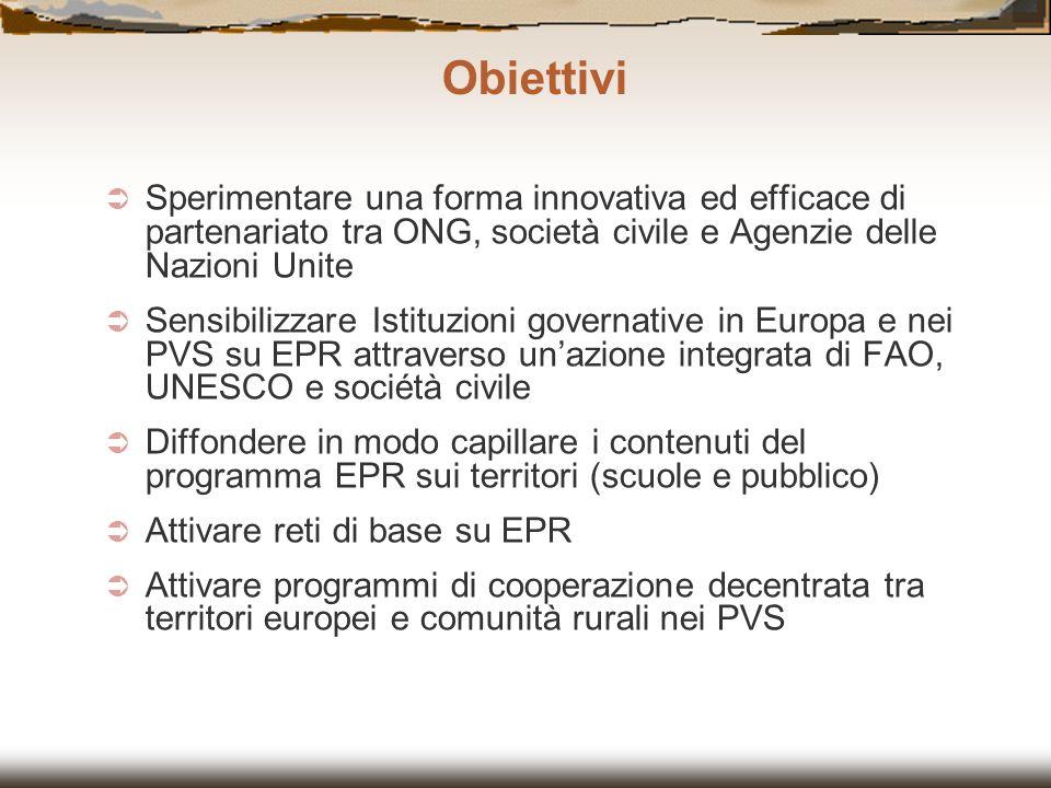 Obiettivi Sperimentare una forma innovativa ed efficace di partenariato tra ONG, società civile e Agenzie delle Nazioni Unite.