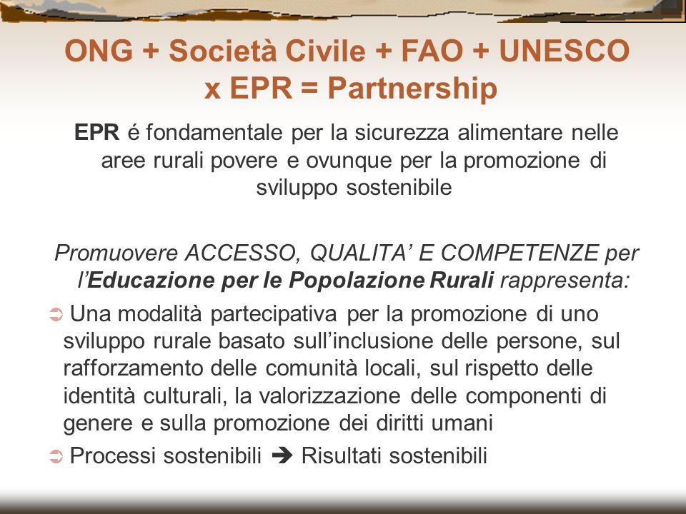 ONG + Società Civile + FAO + UNESCO