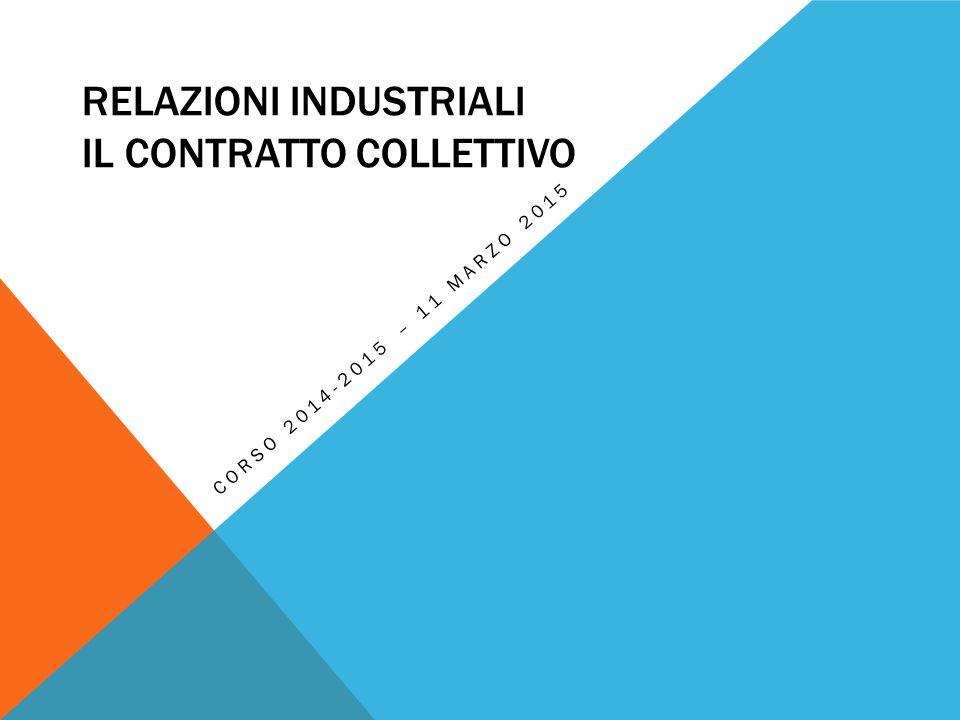 Relazioni Industriali Il contratto collettivo