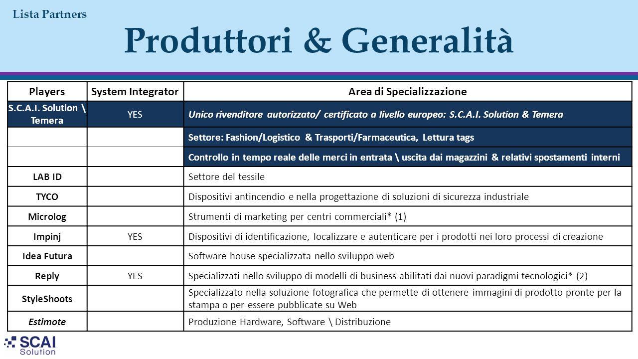 Produttori & Generalità