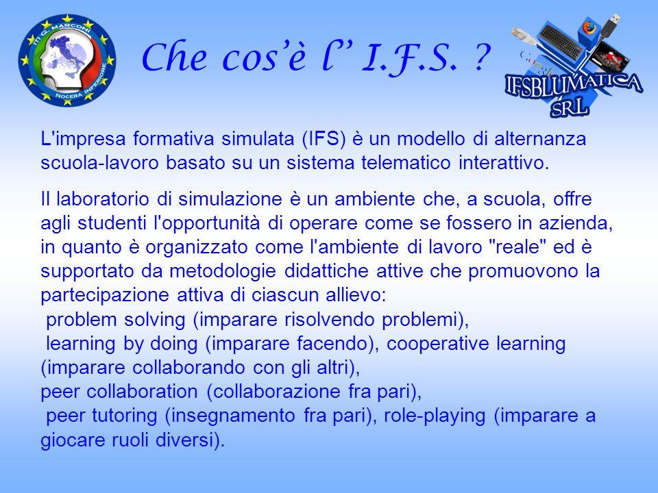 Che cos'è l'' I.F.S. L impresa formativa simulata (IFS) è un modello di alternanza scuola-lavoro basato su un sistema telematico interattivo.
