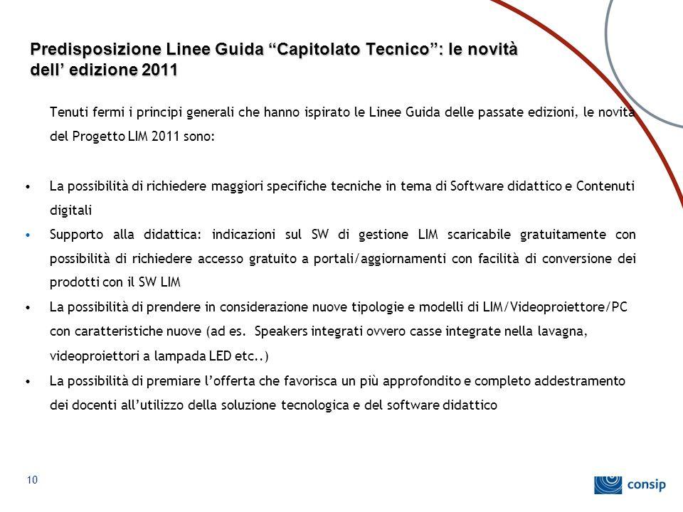Predisposizione Linee Guida Capitolato Tecnico : le novità dell' edizione 2011