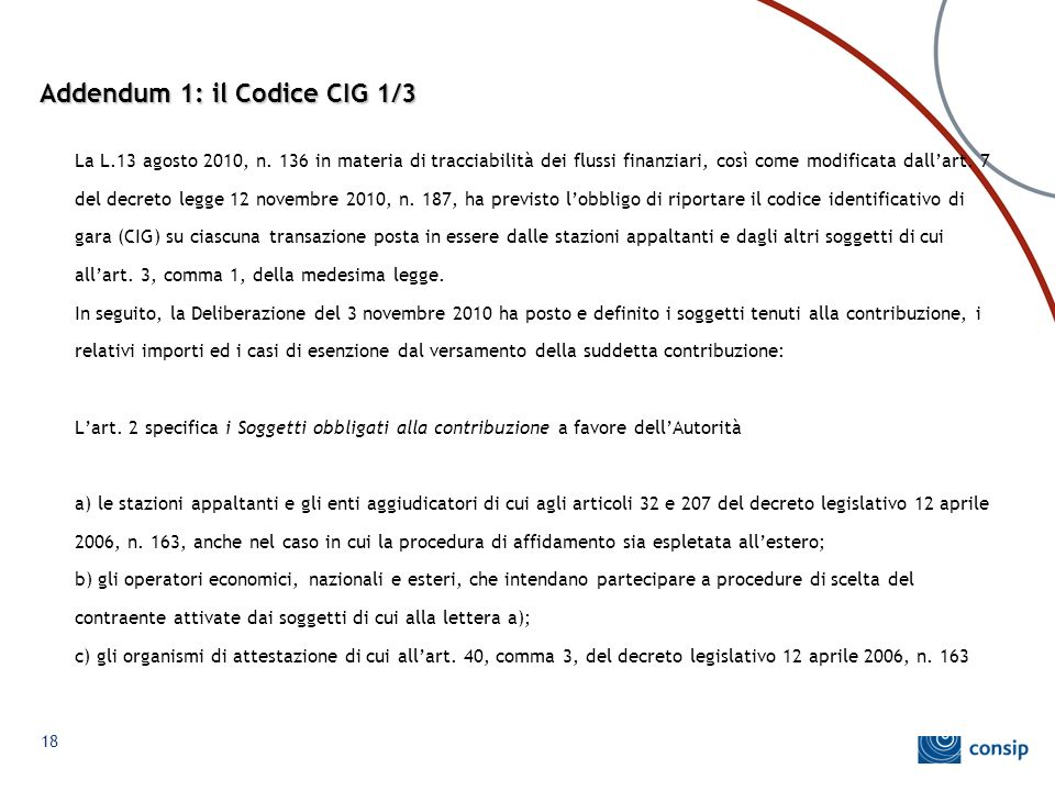 Addendum 1: il Codice CIG 1/3