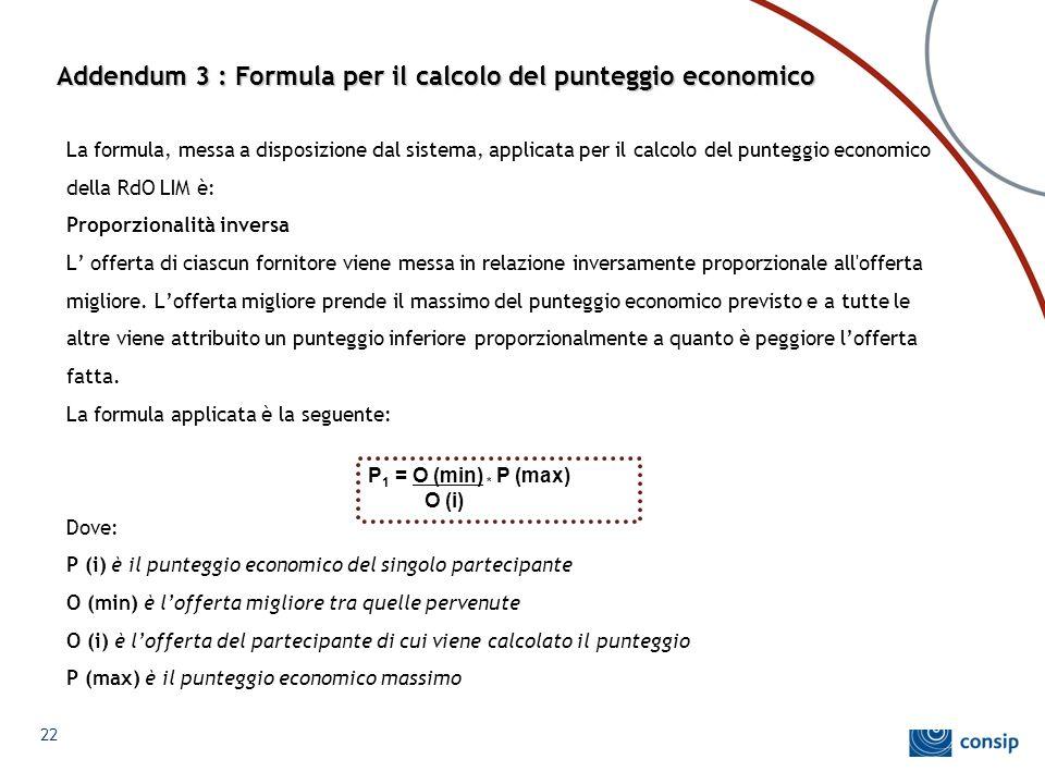 Addendum 3 : Formula per il calcolo del punteggio economico