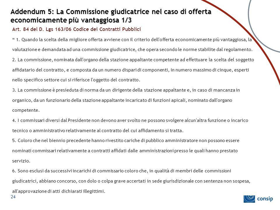 Addendum 5: La Commissione giudicatrice nel caso di offerta economicamente più vantaggiosa 1/3