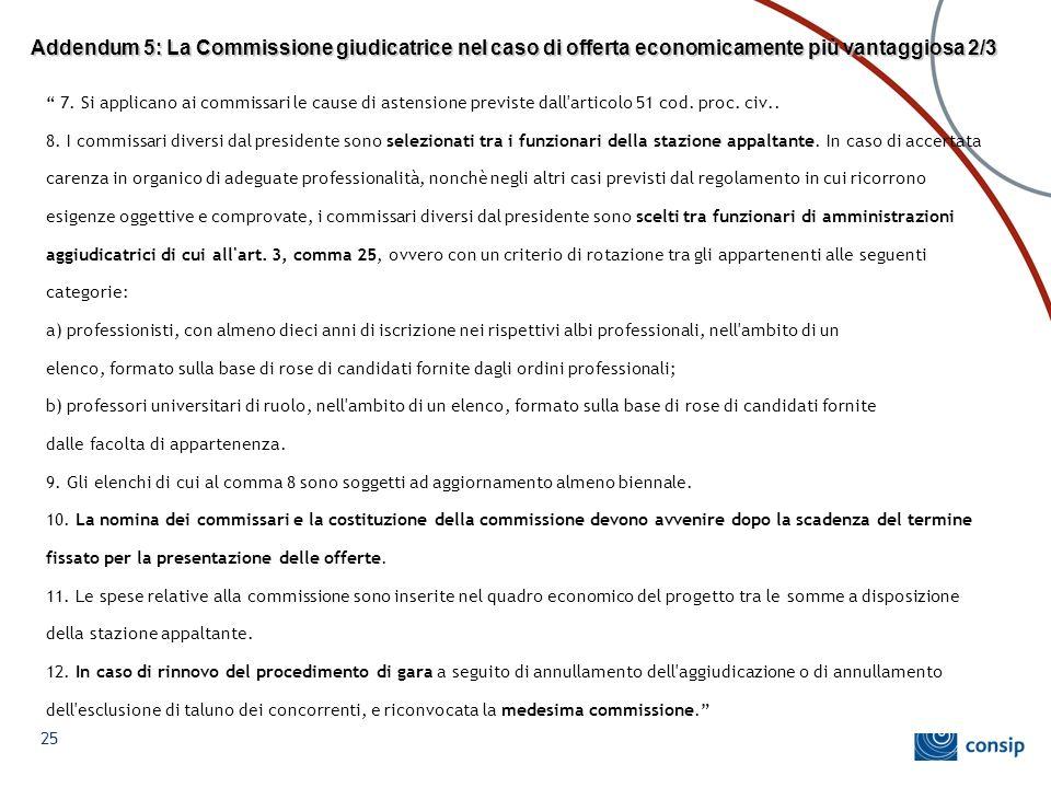 Addendum 5: La Commissione giudicatrice nel caso di offerta economicamente più vantaggiosa 2/3