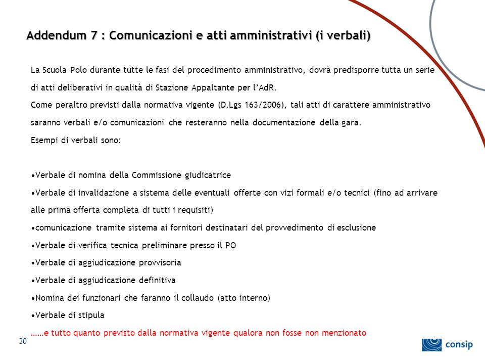Addendum 7 : Comunicazioni e atti amministrativi (i verbali)