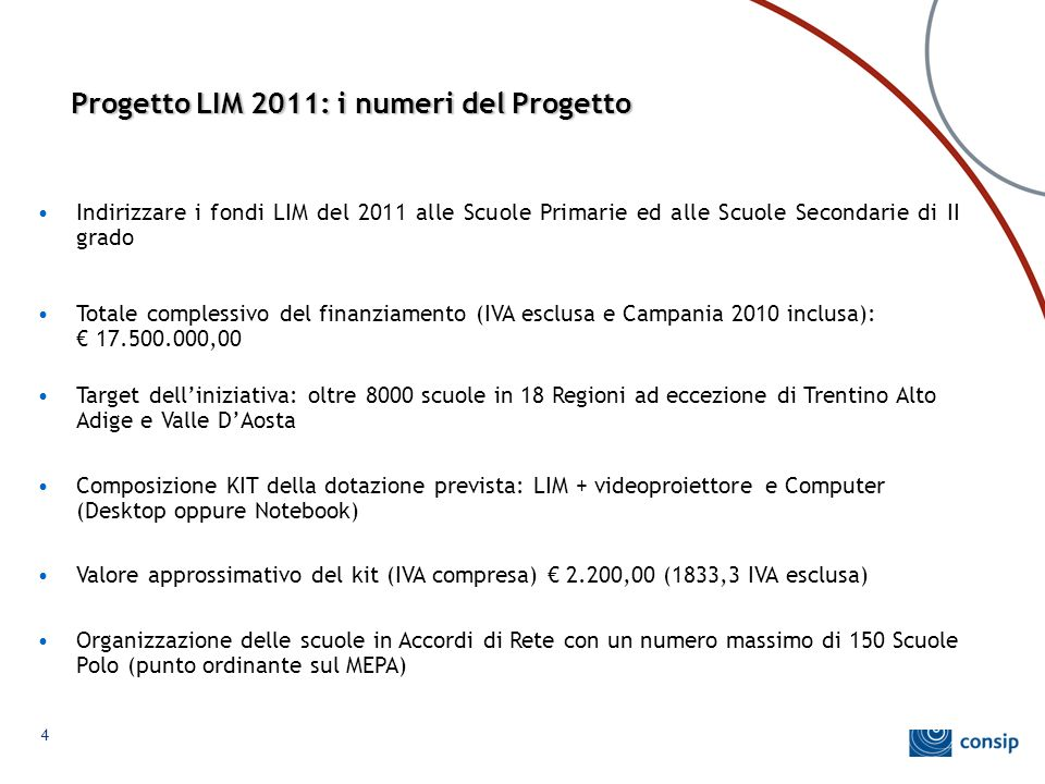 Progetto LIM 2011: i numeri del Progetto