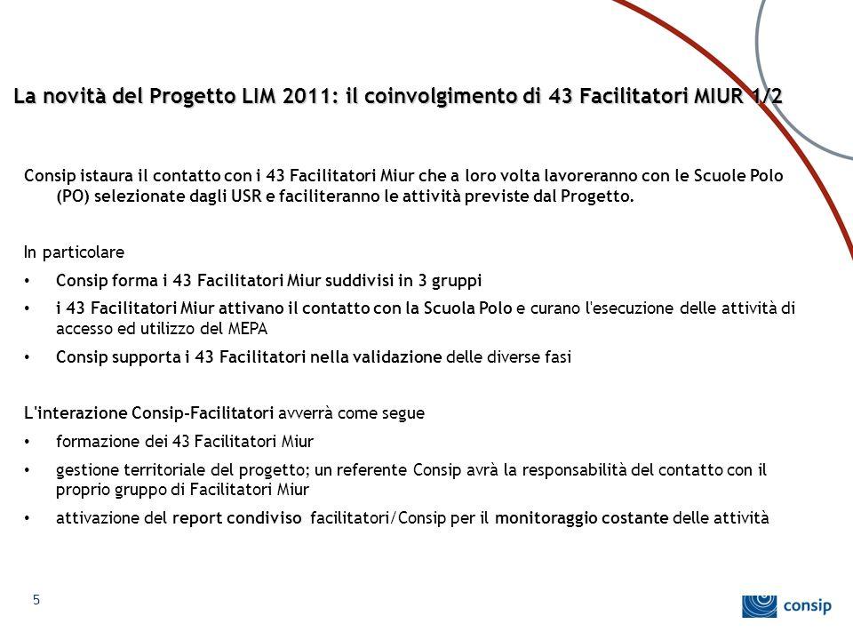 La novità del Progetto LIM 2011: il coinvolgimento di 43 Facilitatori MIUR 1/2