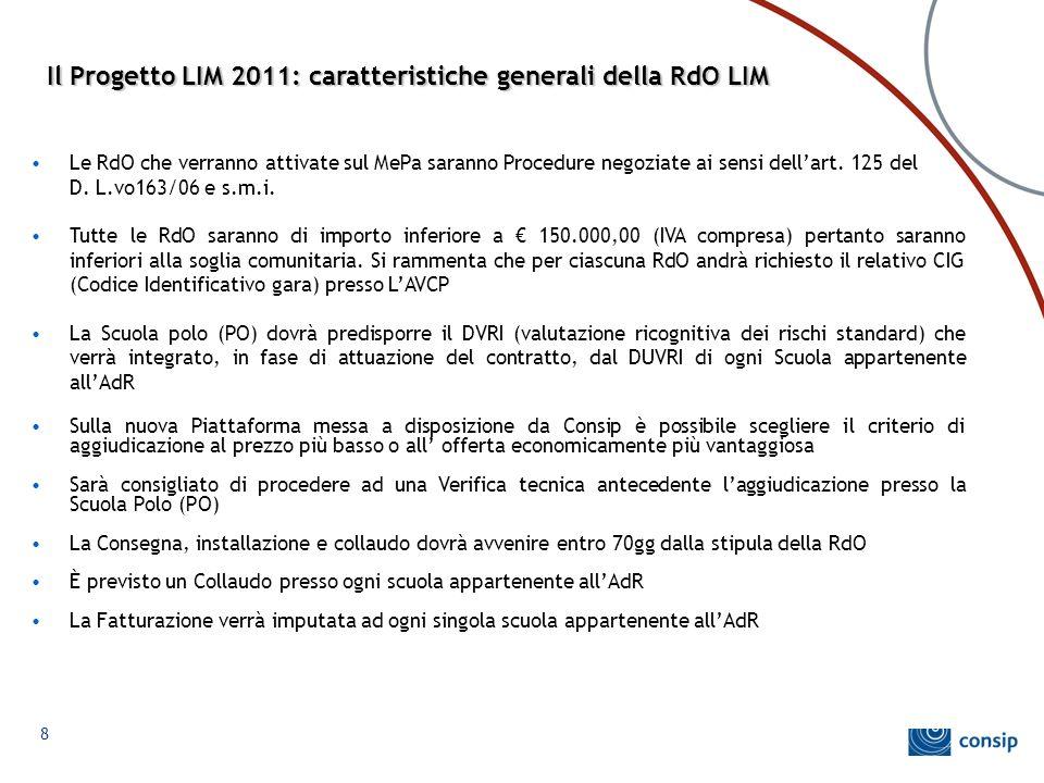 Il Progetto LIM 2011: caratteristiche generali della RdO LIM