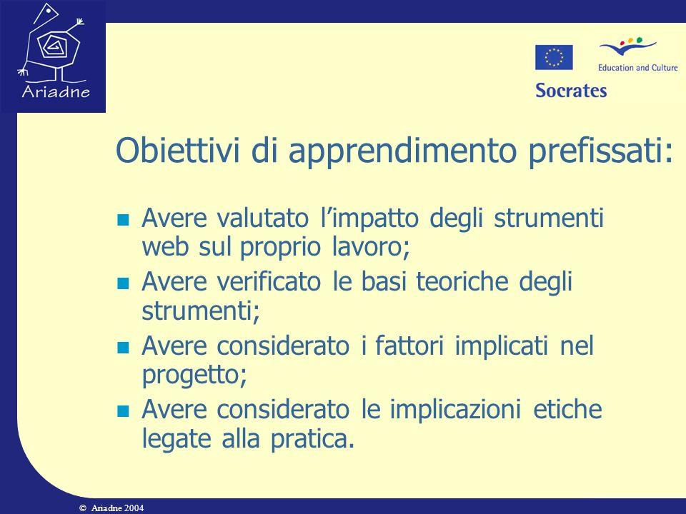 Obiettivi di apprendimento prefissati:
