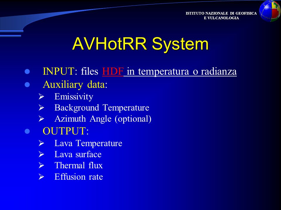 AVHotRR System INPUT: files HDF in temperatura o radianza