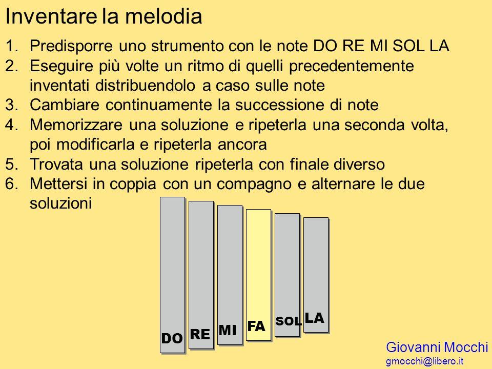 Inventare la melodia Predisporre uno strumento con le note DO RE MI SOL LA.