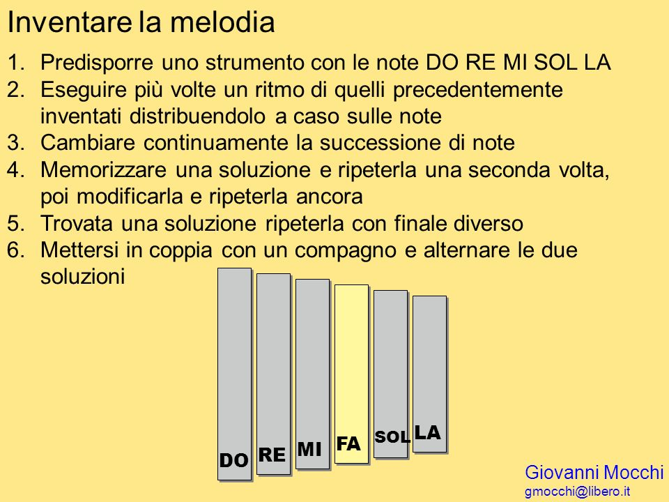 Inventare la melodiaPredisporre uno strumento con le note DO RE MI SOL LA.
