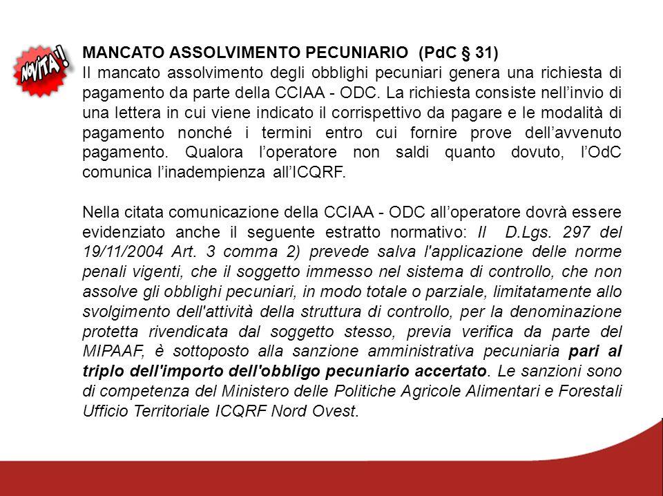 MANCATO ASSOLVIMENTO PECUNIARIO (PdC § 31)