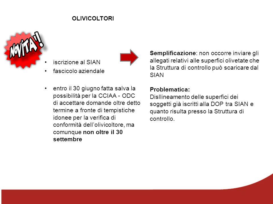 OLIVICOLTORI iscrizione al SIAN. fascicolo aziendale.