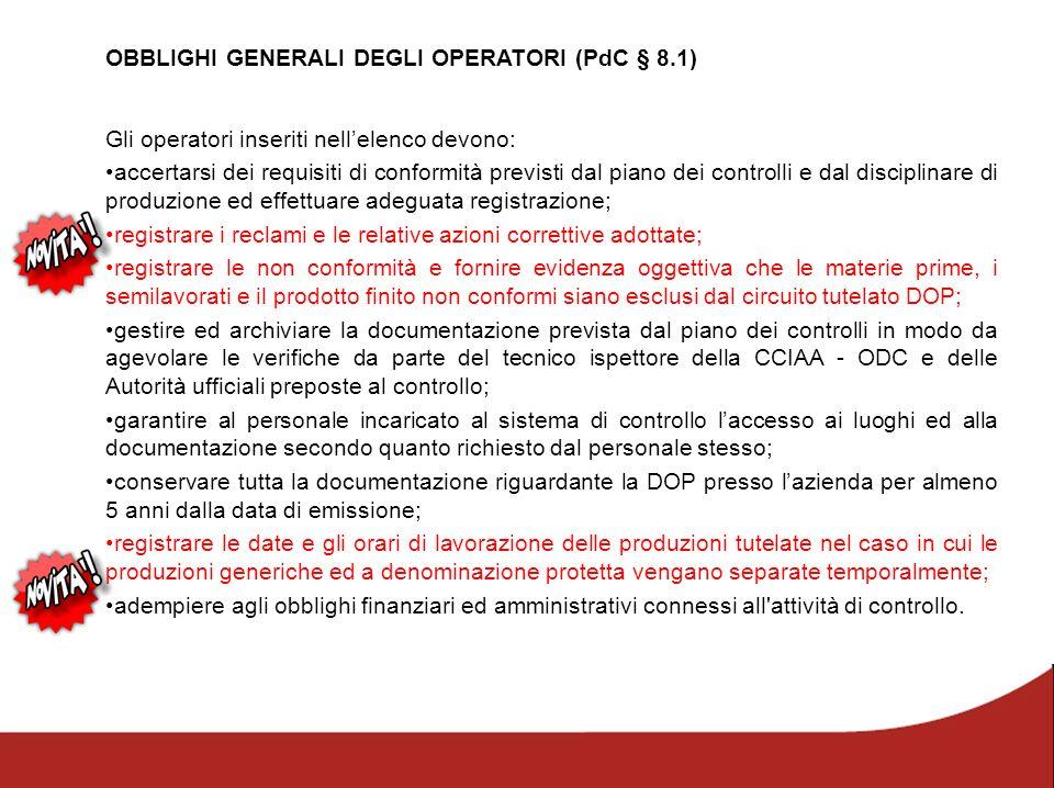 OBBLIGHI GENERALI DEGLI OPERATORI (PdC § 8.1)