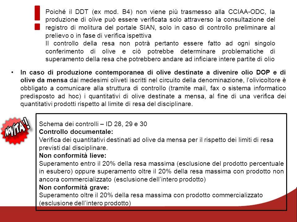 Poiché il DDT (ex mod. B4) non viene più trasmesso alla CCIAA-ODC, la produzione di olive può essere verificata solo attraverso la consultazione del registro di molitura del portale SIAN, solo in caso di controllo preliminare al prelievo o in fase di verifica ispettiva