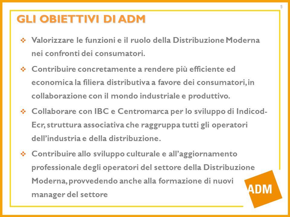 GLI OBIETTIVI DI ADMValorizzare le funzioni e il ruolo della Distribuzione Moderna nei confronti dei consumatori.