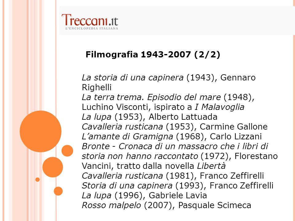 Filmografia 1943-2007 (2/2) La storia di una capinera (1943), Gennaro Righelli.