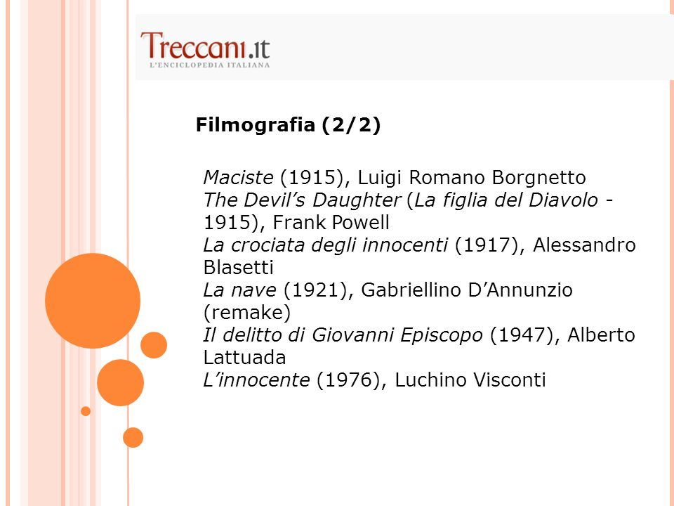 Filmografia (2/2) Maciste (1915), Luigi Romano Borgnetto. The Devil's Daughter (La figlia del Diavolo - 1915), Frank Powell.