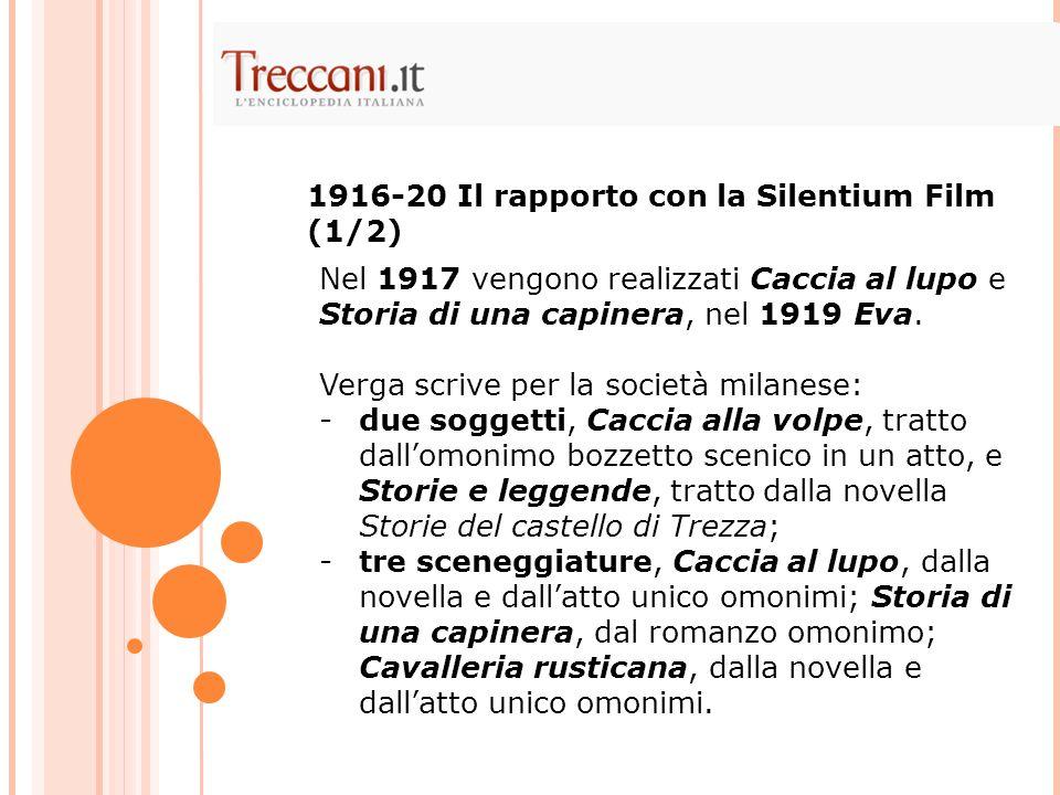1916-20 Il rapporto con la Silentium Film (1/2)