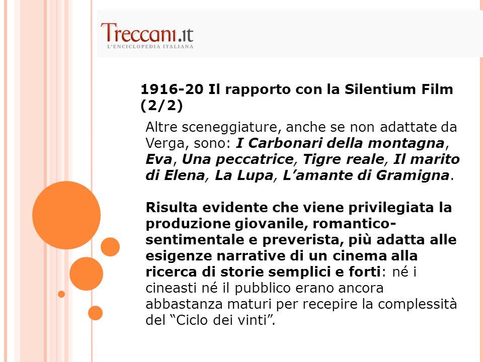 1916-20 Il rapporto con la Silentium Film (2/2)
