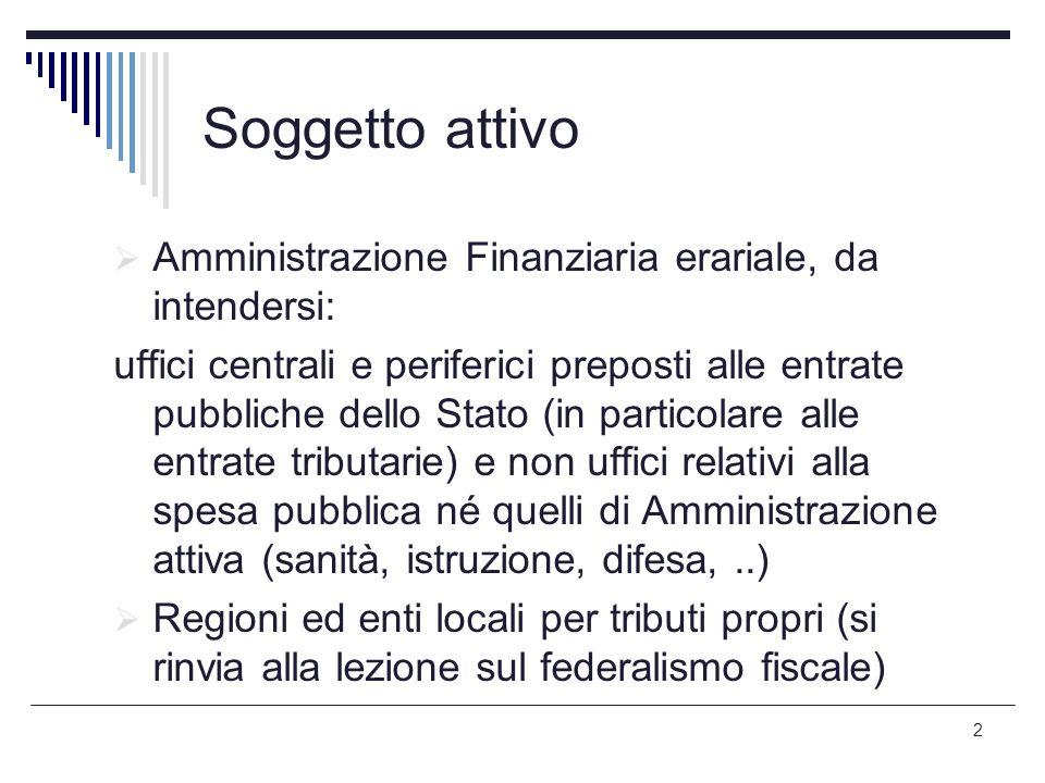 Soggetto attivo Amministrazione Finanziaria erariale, da intendersi: