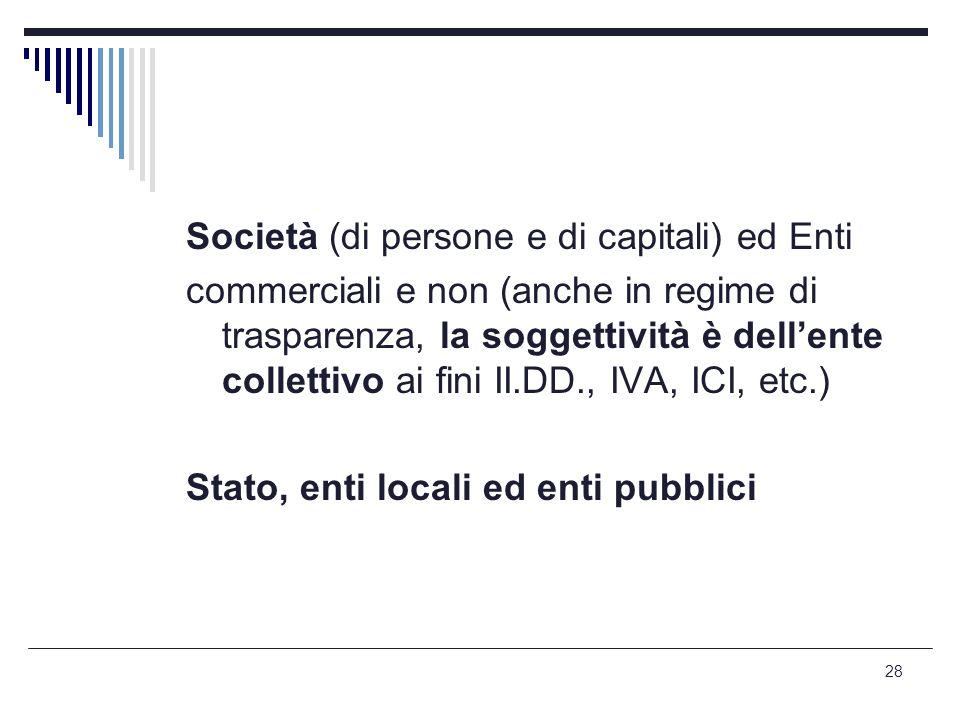 Società (di persone e di capitali) ed Enti