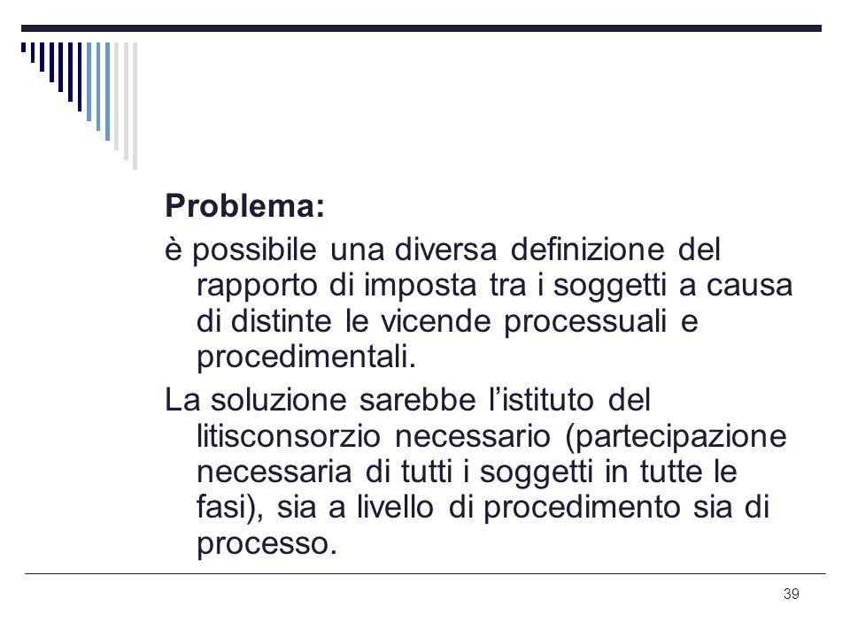 Problema: è possibile una diversa definizione del rapporto di imposta tra i soggetti a causa di distinte le vicende processuali e procedimentali.