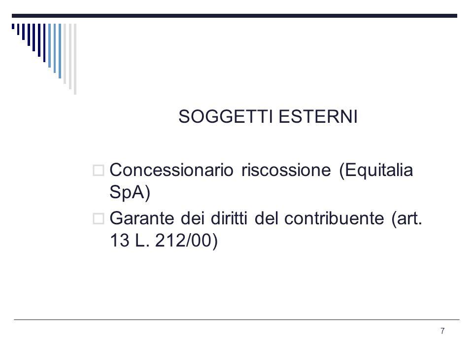 SOGGETTI ESTERNI Concessionario riscossione (Equitalia SpA) Garante dei diritti del contribuente (art.