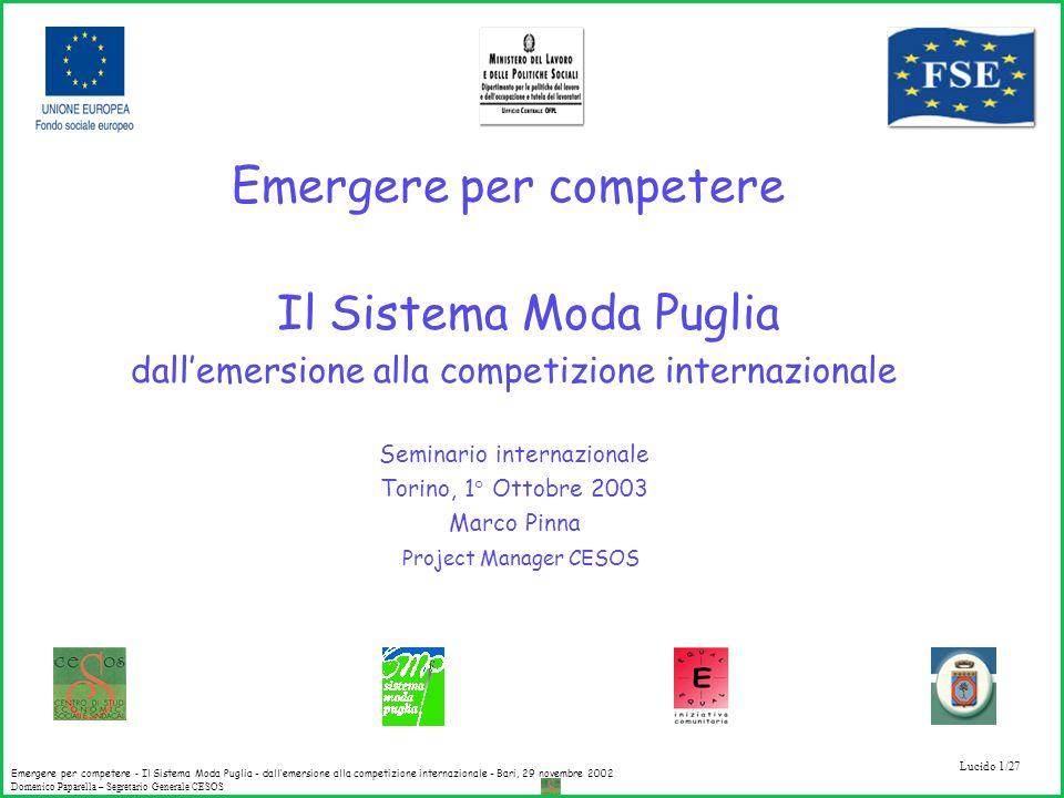 Emergere per competere Il Sistema Moda Puglia