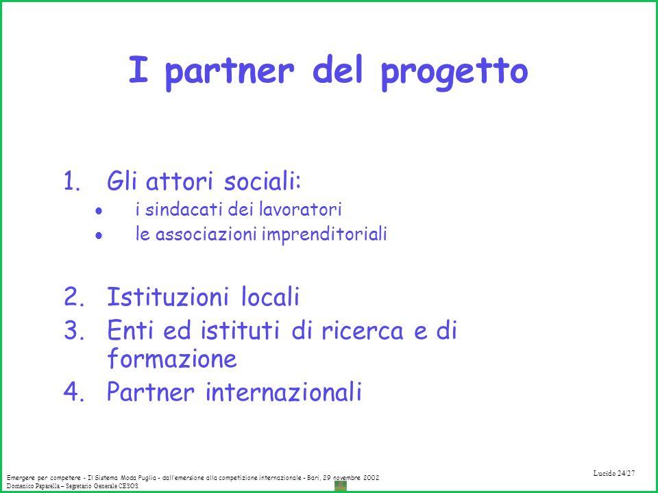 I partner del progetto Gli attori sociali: Istituzioni locali
