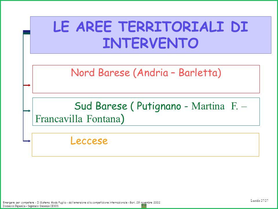 LE AREE TERRITORIALI DI INTERVENTO