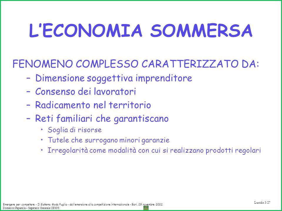 L'ECONOMIA SOMMERSA FENOMENO COMPLESSO CARATTERIZZATO DA: