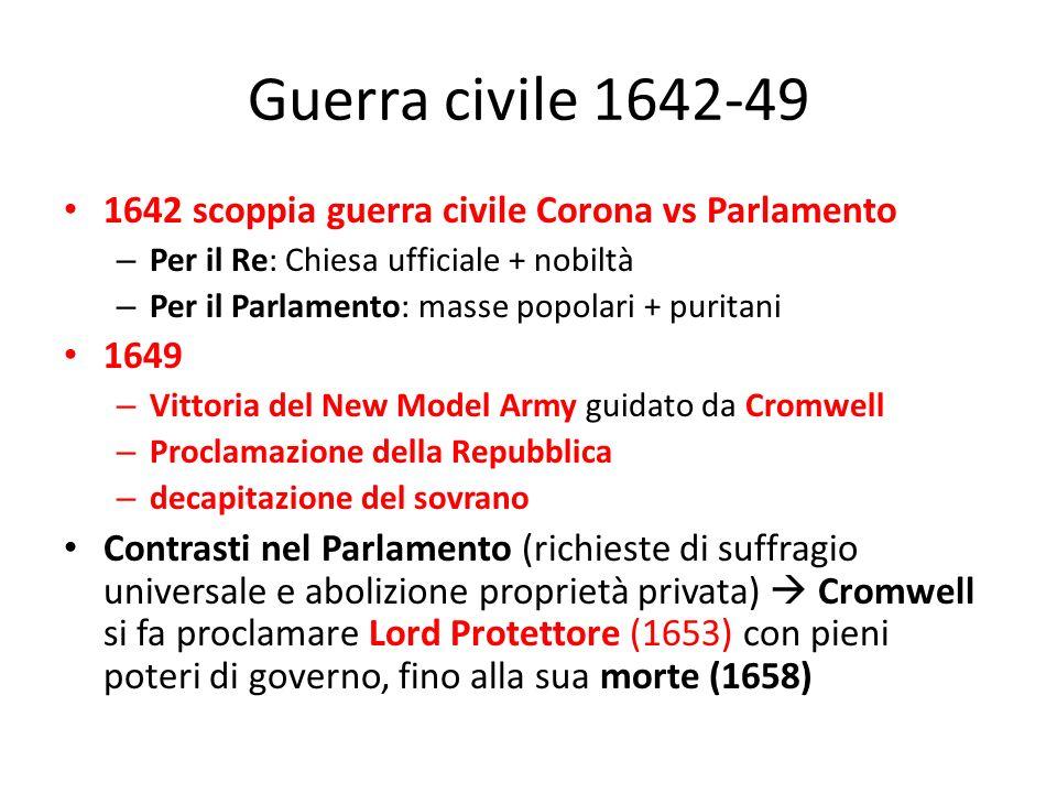 Guerra civile 1642-49 1642 scoppia guerra civile Corona vs Parlamento