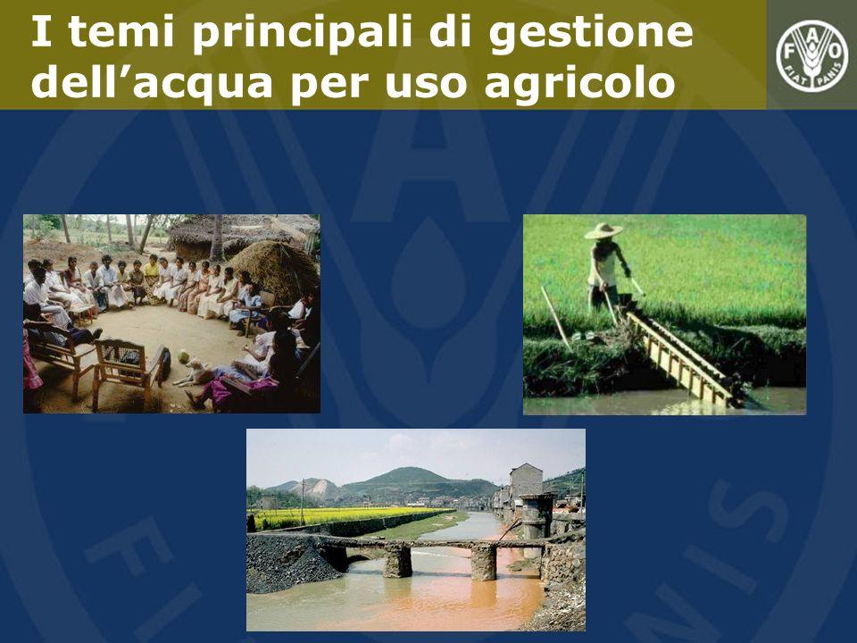 I temi principali di gestione dell'acqua per uso agricolo