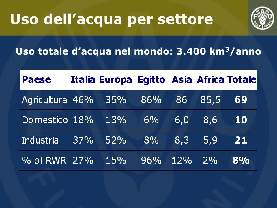 Uso totale d'acqua nel mondo: 3.400 km3/anno